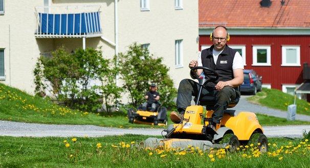 Gräsklippning på såggatan i Domsjö, MIK ALL Service AB